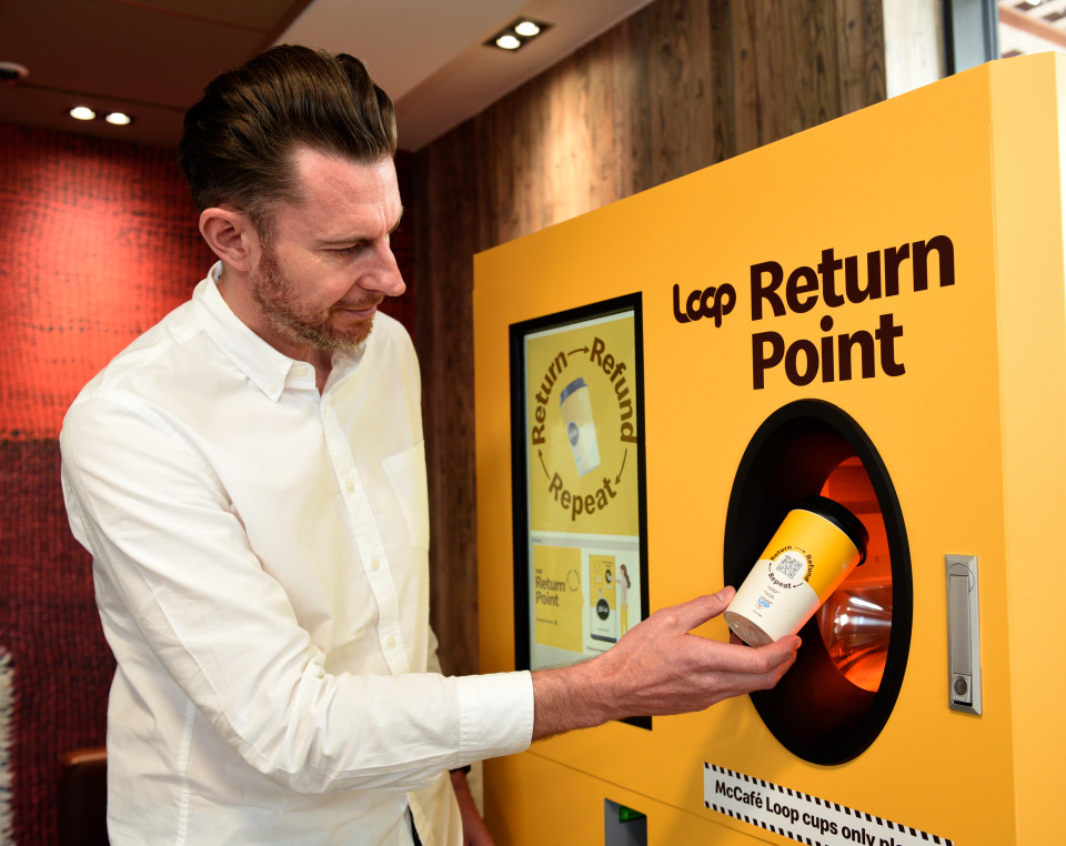 McDonald's and TerraCycle's Loop pilot reusable coffee cup initiative in England
