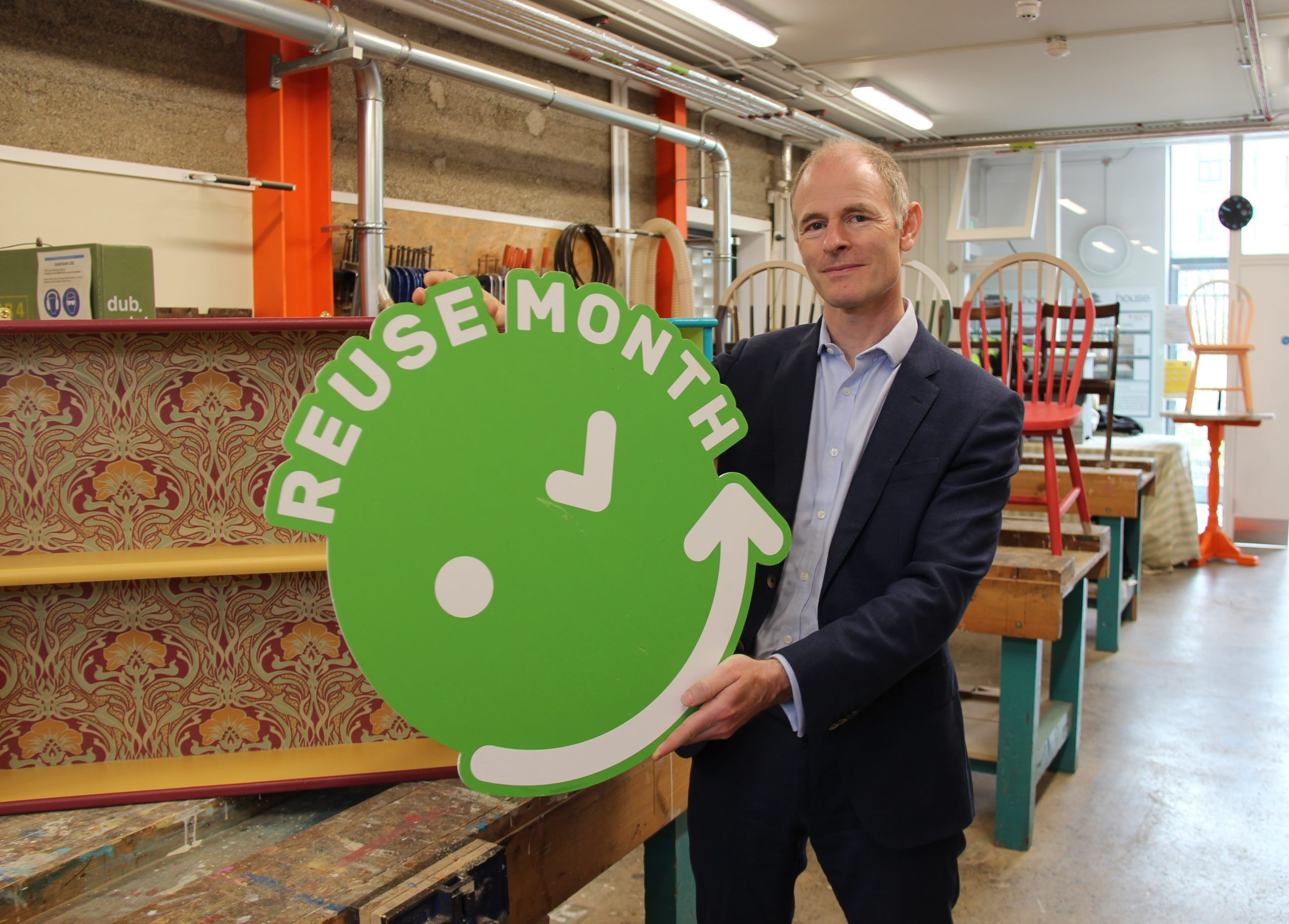 Reuse Month 2021 Ossian Smyth TD, Minister with responsibility for the Circular Economy launches Reuse Month 2021 amid an array of upcycled